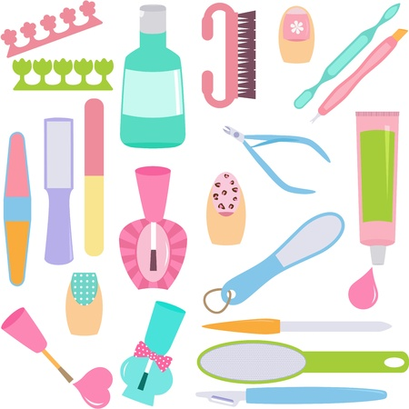 A set of tools for Manicure, Pedicure  Hands, Feet Treatment  Stock Vector - 16138207