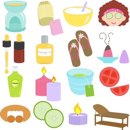 non alcohol: Un conjunto de herramientas, iconos de belleza spa, relax, masajes en colores pastel