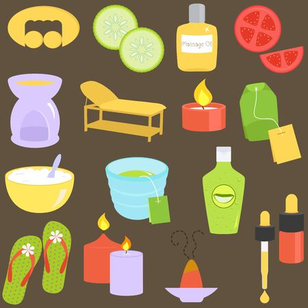 A set of  - Beauty tools, Spa Icons, Relaxation, Massage  Stock Vector - 16211630