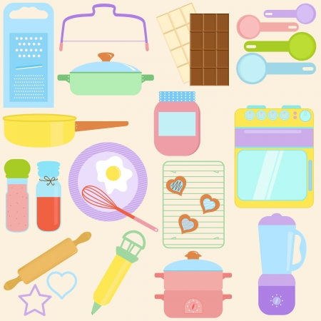 collection of Cooking, Baking Tools in Pastel Vector