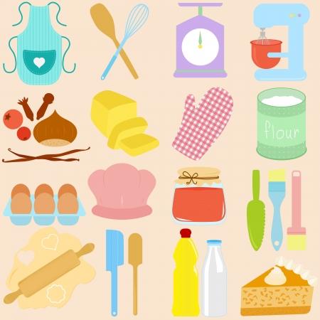 fartuch: biblioteka gotowanie, pieczenie Tools w pastelowych Ilustracja
