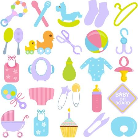 Eine Sammlung von Accessoires für Mama und Baby in Pastell Standard-Bild - 16211637