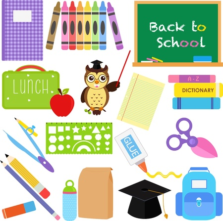 Una colecci�n de iconos Back to School