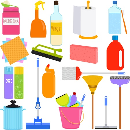 Vector Icons   Domestic housework Tools for Washing, Household Cleaning Equipments Vector