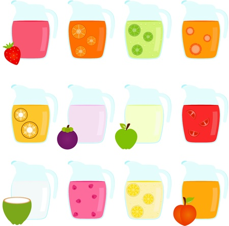 pineapple juice: Vector of Colorful Jugs filled with different Fruit Juice Illustration