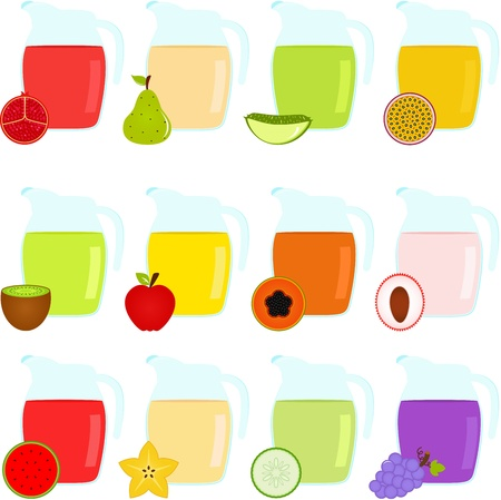 papaya: Vector of Colorful Jugs filled with different Fruit Juice Illustration