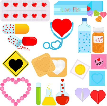 Products and Packages with a shape of heart, conceptual for romance Stock Vector - 16327214