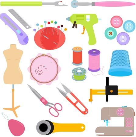 coser: Vector de herramientas de costura y accesorios artesanales