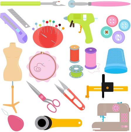 machine gun: Vector of Sewing Tools and Handicraft accessories Illustration