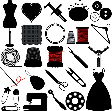 Vector Silhouette of Sewing Tools and Handicraft accessories Illustration