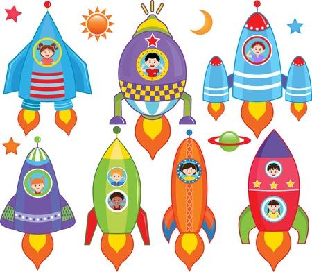 raumschiff: Vektor-Sammlung von Kids im Inneren Raumschiff, Raumfahrzeug, Rocket Illustration