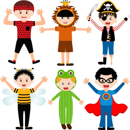 A set of cartoon male kids, young boys in cute costumes  Vector