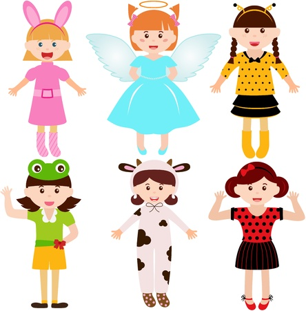 A set of cartoon female kids, young girls in cute costumes  Vector