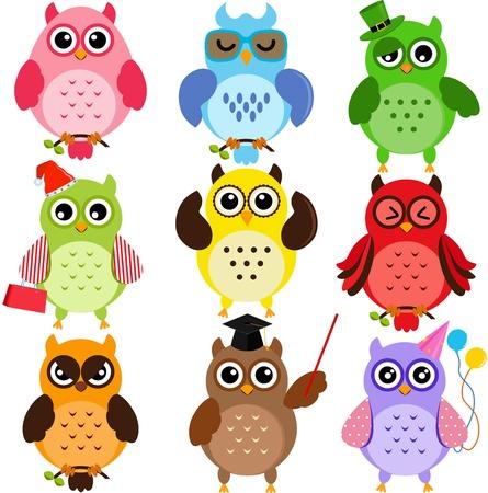 buho graduacion: Conjunto de b�hos de colores con diferentes personajes Vectores