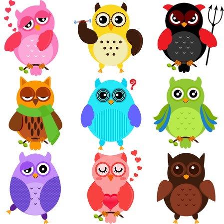 Set of Colorful Owls with different characters Stock Illustratie