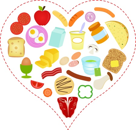 A Vector illustration of Food icons inside a Heart Illustration