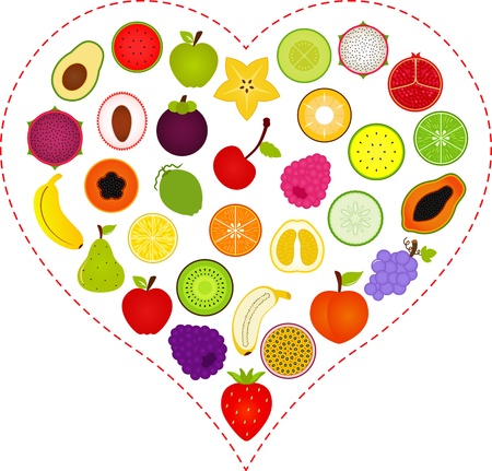 A Vector illustration of Fruit icons inside a Heart Illustration