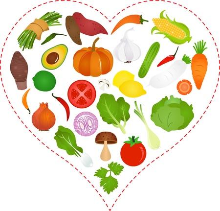 pumpkin seeds: A Vector illustration of Vegetables icons inside a Heart Illustration