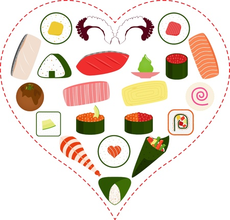 sashimi: A Vector illustration of Sushi, Sashimi, Maki icons inside a Heart