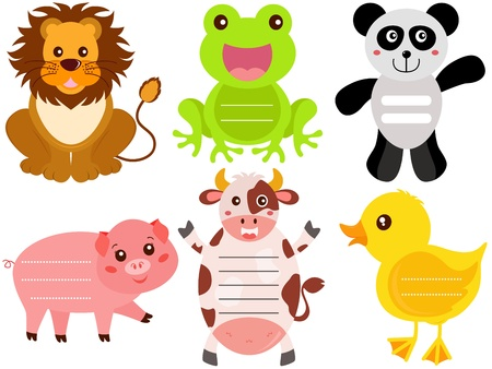 A Vector Set of Cute Animal Icons   Tag   Label Stock Vector - 17468371