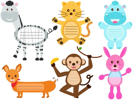 A Vector Set of Cute Animal Icons   Tag   Label Stock Vector - 17468373