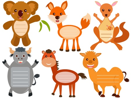 A Vector Set of Cute Animal Icons   Tag   Label Stock Vector - 17468376