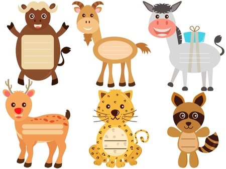A Vector Set of Cute Animal Icons   Tag   Label Stock Vector - 17468375