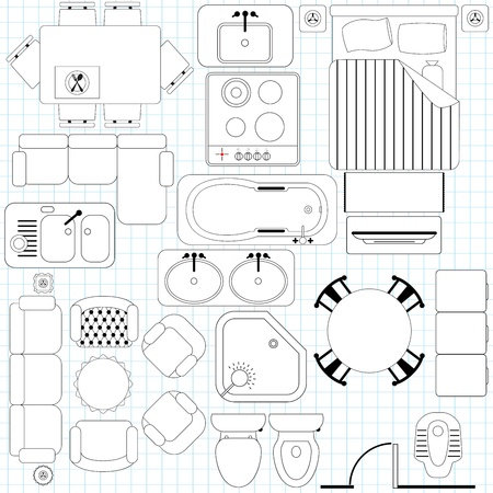 Icons   Simple Furniture   Floor Plan  Outline  Ilustração