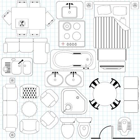 plan van aanpak: Pictogrammen Simple Meubelen Plattegrond Outline Stock Illustratie