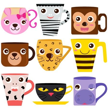 money cat: colecci�n de la taza de caf� y taza con patrones diferentes de animales Vectores