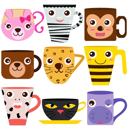 money cat: collection of Coffee Cup and Mug with different animal patterns