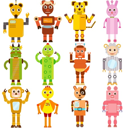 chinese pig: A set of colorful and cute  Icons   Twelve  Robots Illustration