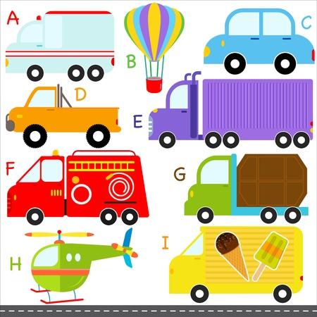 lorries: Un insieme di carino AZ alfabeti auto veicoli di trasporto Vettoriali