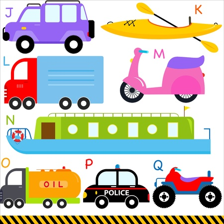 motorcycle officer: A set of cute  A-Z alphabets   Car   Vehicles   Transportation Illustration