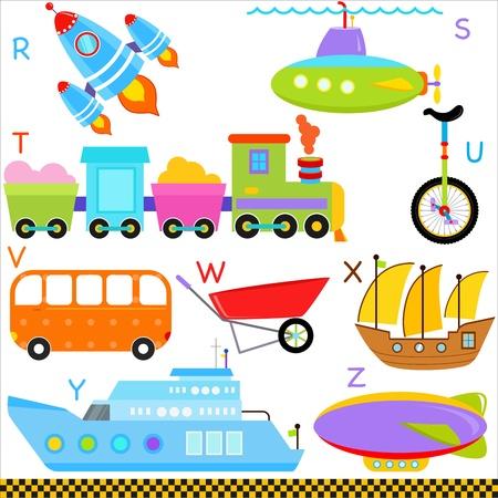 submarino: Un conjunto de alfabetos lindo AZ Car Vehículos de Transporte