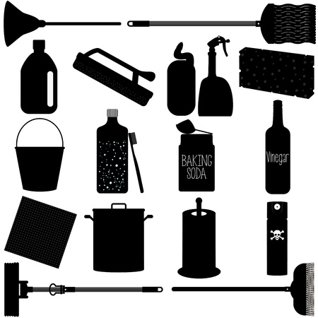 I Silhouette Icons   Domestic housework Tools for Washing, Household Cleaning Equipments Vector