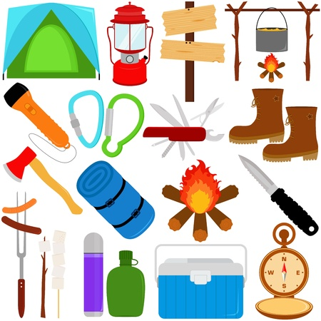 Vacation - Outdoor Travel   Trekking and Camping vector icons   symbol collection Illustration