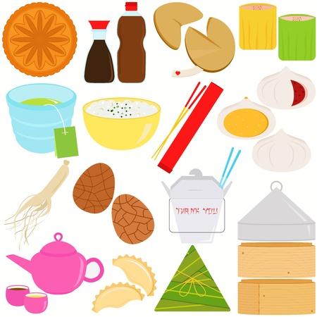 клецка: Векторные иконки из китайской кухни и культуры Иллюстрация