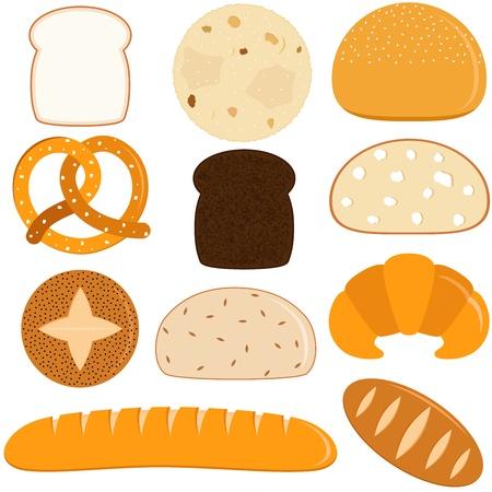 pan frances: Iconos del vector de los diferentes tipos de pan Vectores