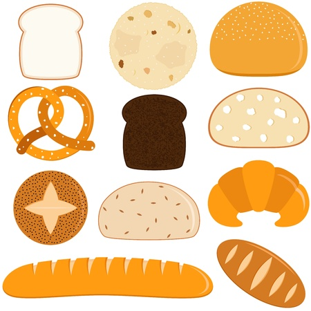 loaf of bread: Vector Icons of different kinds of Bread