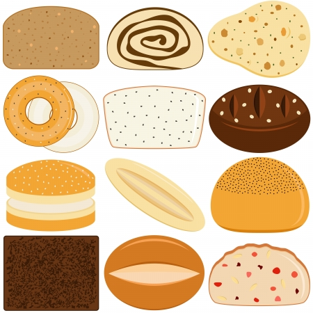 indian spices: Vector Icons of different kinds of Bread