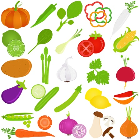 vegetable cartoon: Colorful Food vector Icons    Fruit and vegetables