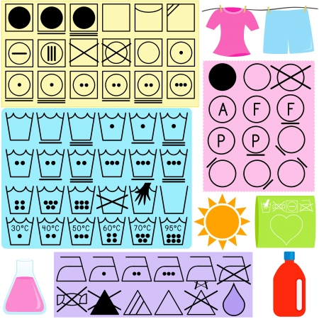 wet shirt: Vector Laundry Icons : Symbols for clothes washing