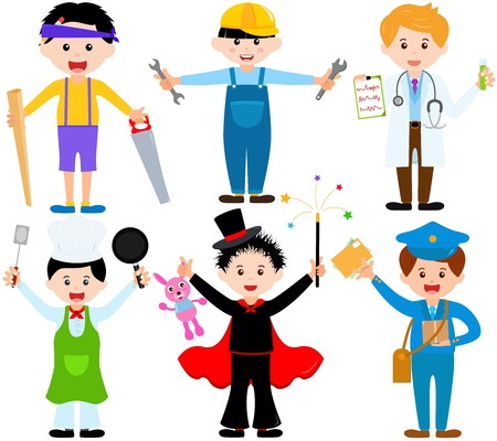 A set of cartoon male kids, young boys in cute costumes  Illustration