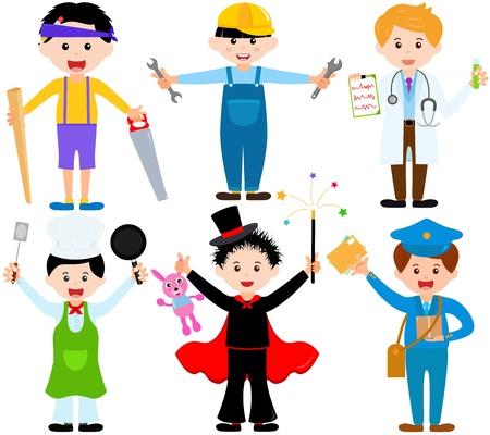 Una serie de dibujos animados los niños varones, niños jóvenes en trajes lindos