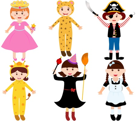 A set of cartoon female kids, young girls in cute costumes  Illustration