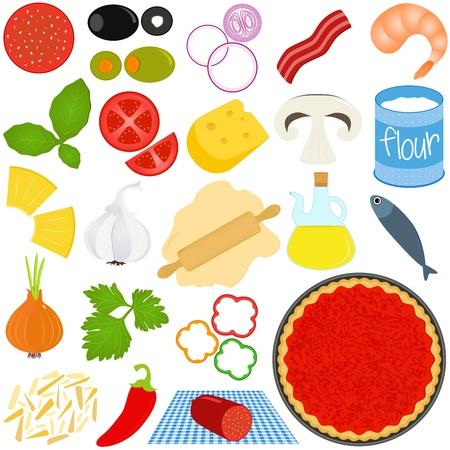Iconen van de ingrediënten van make Pizza