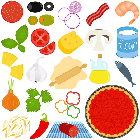 Icons of Ingredients of make Pizza Vector