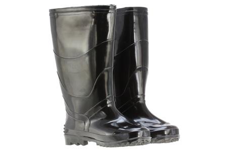 rain boots: A pair of Black Rain boots  Rubber boots , made of Elastic PVC  Plastic