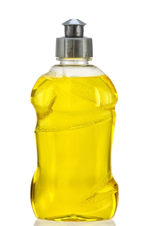 A Bottle of Yellow Dish Washing Liquid,  isolated on white background